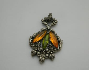 Lovely pendant green and yellow  - french jewelry -