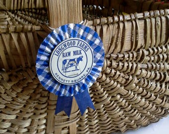 3 Gingham Dairy Cap Prize Ribbon Rosettes Medallion Blue White Farmhouse Fair Upcycled Milk Bottle Caps, HandMade