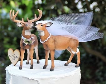 buck and doe wedding cake toppers deer cake topper buck and doe deer heads camo 12203