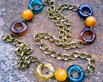 Eco-Friendly Statement Necklace - Earth, Water, Sun & Sky - Recycled Chunky Vintage Chain and Hoop Beads in Blues, Brown, Ochre and Yellow