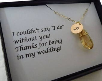 ON SALE Personalized Necklace and Card SET, Bridal Party, Bridesmaid Personalized Necklace,Necklace Set, Jewelry with Card for Wedding,Maid