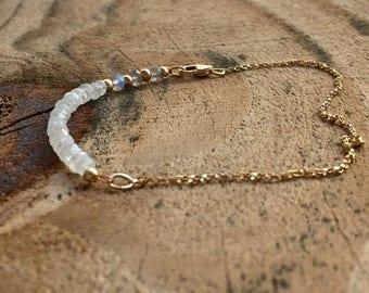ON SALE Moonstone Bracelet Dainty Gemstone Beaded Bracelet 14kt Gold Filled Ombre Moonstone & Labradorite Jewelry Gift for Women