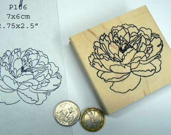 P106 Large peony rubber stamp