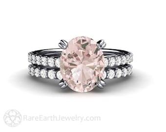 Morganite Wedding Set Engagement Ring Platinum Pink Morganite Ring Oval Solitaire Bridal Set Conflict Free Diamonds Wedding Ring