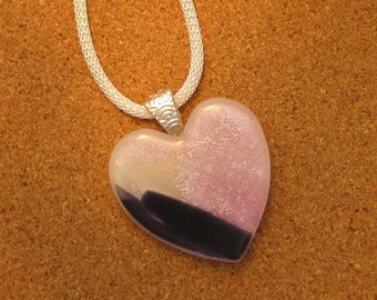 Pink Dichroic Heart Pendant - Fused Glass Heart - Dichroic Jewelry - Fused Glass Jewelry - Dichroic Necklace - Dichroic Heart