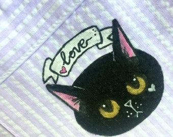 IN SCONTO* Pantaloncini con Sad Kitten -gatto dipinto a mano - estate - vintage - upcylcle - vegan - pezzo unico - verde giallo rosa