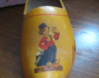Vintage wooden Shoe Heineken Souvenir Holland beer Advertisement