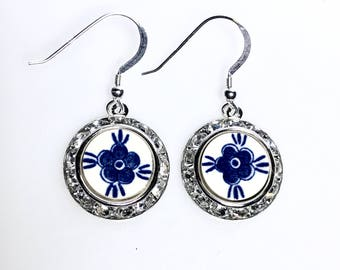 Delft from Holland Broken China Jewelry Blue Earrings, Silver Dangle Drop, Swarovski Crystal, Gift from Holland, Hand Painted Earrings