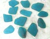 TEAL Medium Size Hawaiian Style Tumbled Top Drilled Sea Glass SG158