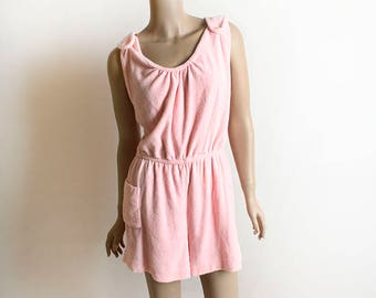 Vintage 1970s Romper - Cotton Candy Pink Terry Cloth Romper - Summer Playsuit - Soft Towel with Pocket - 70s Fashion - Medium Large