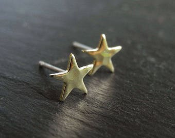Tiny Star Earrings, Hammered Star Earrings, Golden Brass Star Studs, Star Celestial Jewelry, Unisex Gift, Hypoallergenic Sterling Silver