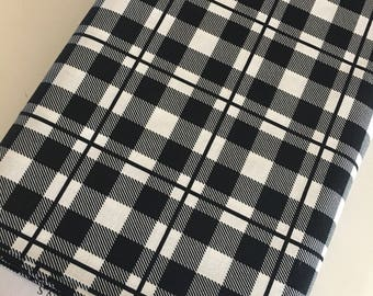 Black White Fabric, Plaid Fabric, Modern Fabric, Gift for Her, Fabric by the Yard, Yes Please Plaid in Black White - Choose the cut