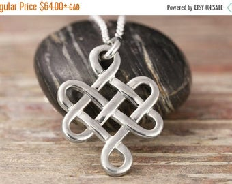 CLOSING SALE Endless knot pendant in sterling silver - Celtic necklace, celtic knot, endless knot, tibetain knot