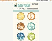 ON SALE October Afternoon Daily Flash Tin Pins Happy Day