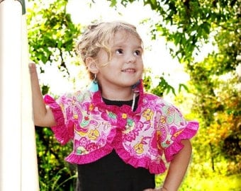 SALE Whimsy Couture Sewing Pattern Tutorial ebook -- Ruffled Bolero -- sizes 12 months- 12 girls PDF Instant