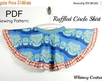 SALE Ruffled Circle Skirt Sewing Pattern sizes 3m through 8 girls PDF Instant