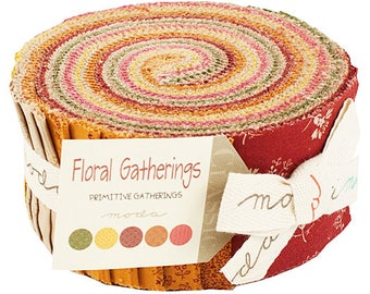 """Moda Floral Gatherings Jelly Roll 2.5"""" Precut Fabric Quilting Cotton Strips Primitive Gatherings 1100JR"""