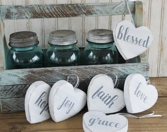 Hand Painted Wood Heart Signs Inspirational Words Handcrafted Cottage Chic Vintage Look Set of Six