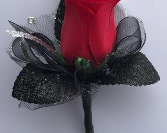 Red Silk Rose Boutonnière