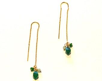 Long Gold Thread Chain Earrings / Long 14k Gold Thread Chain Earrings with Green Onyx Gemstone / Simple Geometric long Thread Chain Earring