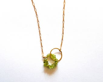 Gold Peridot Gemstone Necklace / Gold Geometric Necklace / Gold Green Peridot Necklace / Green Modern Statement Necklace / August Birthstone