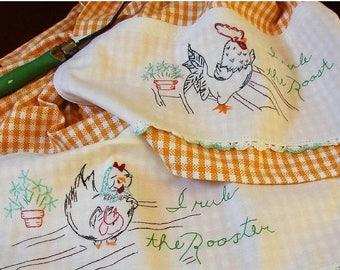Clearance Sale Tea Towel Set | Chicken Kitchen Towels | Vintage Linen | Rooster & Hen Tea Towel | Gold White Check | Kitchen Decor | Vintage