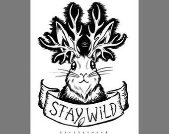5x7 Art Print Card: Stay Wild Jackalope
