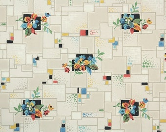 1930s Vintage Wallpaper by the Yard - Antique Floral and Geometric Wallpaper