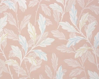 1940s Vintage Wallpaper by the Yard - White Leaves on Pink Background