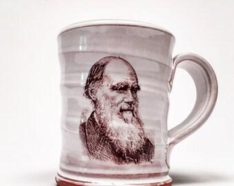 Handmade mug featuring Charles Darwin