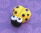 Yellow Glass Ladybug Bead, SRA Handmade Lampwork, About 14mm x 13mm with a 1.75mm hole - A