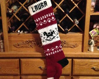 Personalized Christmas Stocking, Stockings, knitted, rocking horse, wedding gift, new baby gift, Moeggenborg Sugar Bush, unlined