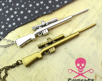 GONE HUNTING - Bronze or Silver Sniper Rifle Pendant Necklace