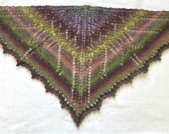 Hand Knit Scottish Homespun Wool Yarn Triangular Scarf or Small Shawl Gift