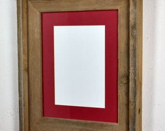 "5"" x 7"" red mat in 8x10 frame from rustic reclaimed wood complete with glass,mat,backing and hardware free shipping"