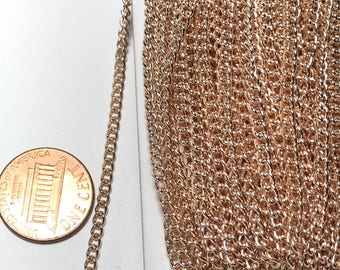 32 ft of Rose Gold plated curb chain 3x2.2mm - unsoldered, Bulk Rose gold chain