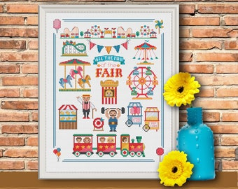 Modern Cross Stitch - Fun Fair Cross Stitch Pattern by Tiny Modernist