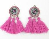Purple Tassel Earring Findings, Fuschia Medallion Earring Dangles, Magenta Silver Flower Earring Parts for DIY Jewelry |PU4-5|2