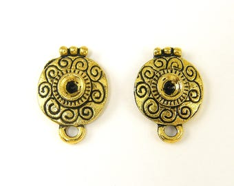 Antique Gold Round Earring Findings Ornate Post with Loop Stud Earring Finding |G20-2|2