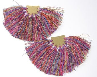 Extra Large Tassel Earring Findings, Colorful Multicolor Large Fringe Earring Findings, Colorful Thread Earring Dangles Components |LG8-13|2