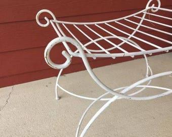 Vintage Hollywood Regency Metal Vanity Stool Chair Bench (3629-W)