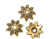 40% Retirement Closeout - Bead Cap 8 Dotted Petal, Antiqued Gold Tone, 8mm, 50 Pieces, 8S-CAGTDL-050-008