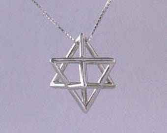 Merkaba charm necklace sterling silver Star tetrahedron