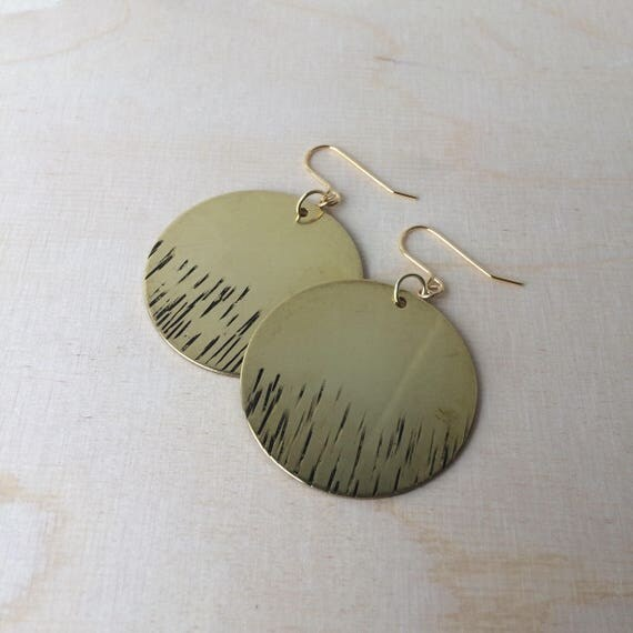 Large Raw Brass Circle Earrings with Hammered Lines - Gypsy - Disc - Statement - Boho - Gold