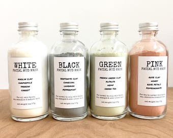 Facial Mud Masks. dry mask. natural clay. botanicals. kaolin. french green. rose. charcoal. honey. bentonite. hemp. pomegranate. carrot