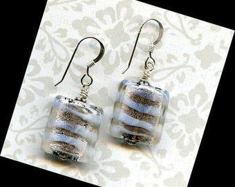 Swirls of White Sterling Silver Earrings