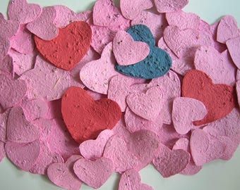 Plantable paper hearts - Party favor or place card - Seeded hearts in pink, blue, red - Made of recycled paper & flower seeds - SECONDS SALE