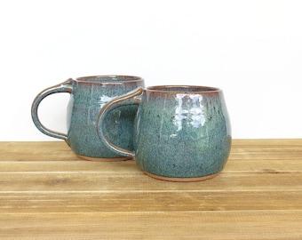 Stoneware Rustic Ceramic Pottery Mugs - Sea Mist - Set of 2