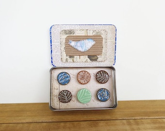 Rustic Clay Fridge Magnet Set of 6, Ceramic Magnet Set, Housewarming Gift, Office Decor