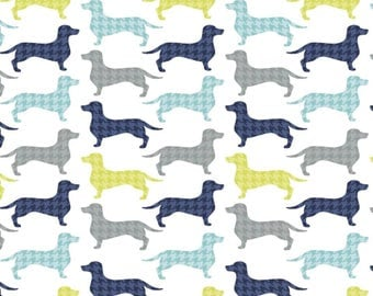 Dog Gone It!-Dachshunds-Tooth White -Camelot Fabrics- Cotton Fabric-Quilt- Apparel-WindyRobinCotton- *Sold in Half Yard.